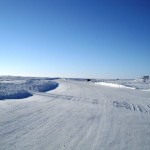 entering ice road from Tuk